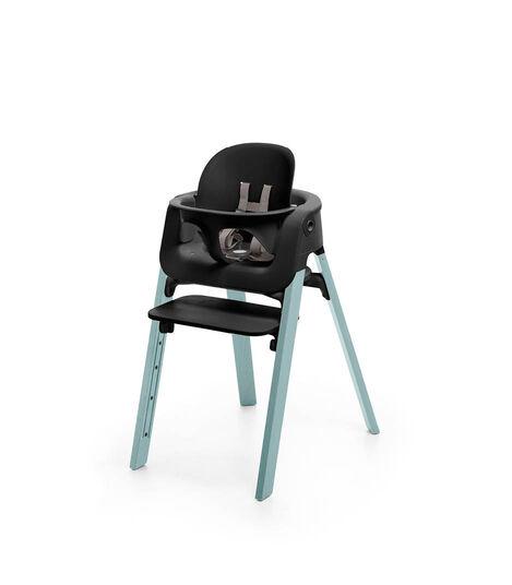 Stokke® Steps™ Chair Black Seat Aqua Blue Legs, Aqua Blue, mainview view 2