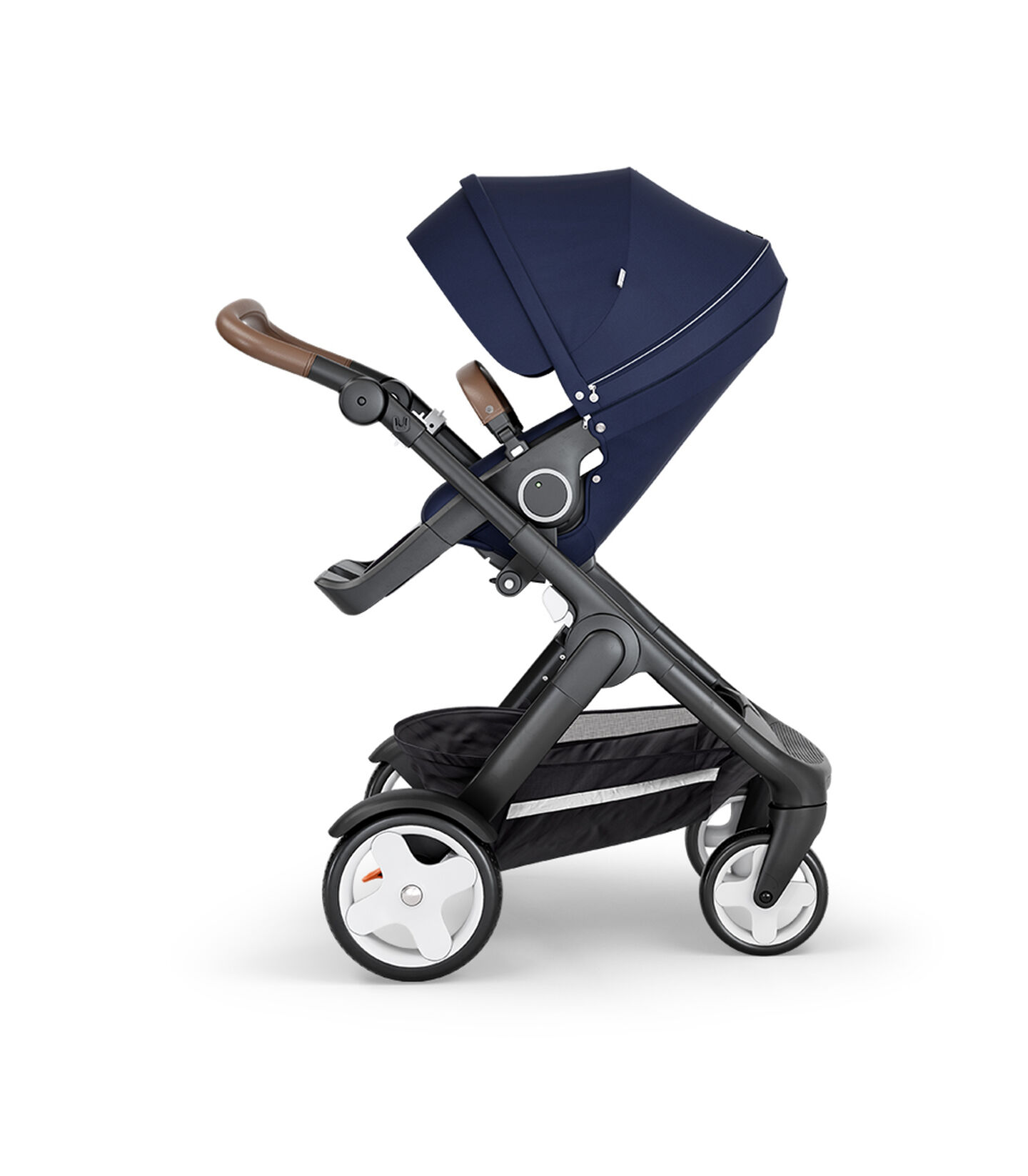 Stokke® Trailz™ with Black Chassis, Brown Leatherette and Classic Wheels. Stokke® Stroller Seat, Deep Blue.