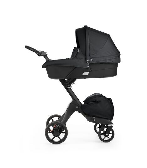 Stokke® Xplory® with Black chassis and Carry Cot, Black. New wheels 2016.