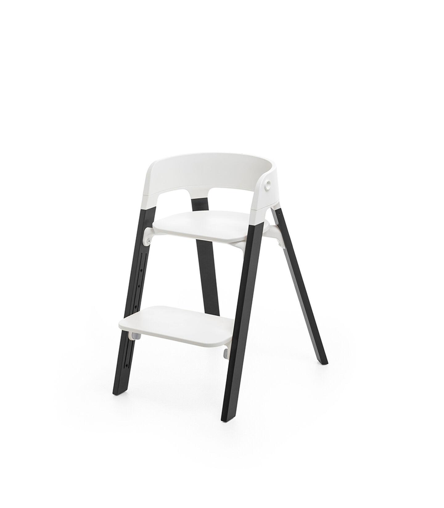 Stokke® Steps™ Chair White Seat Oak Black Legs, Oak Black, mainview view 1