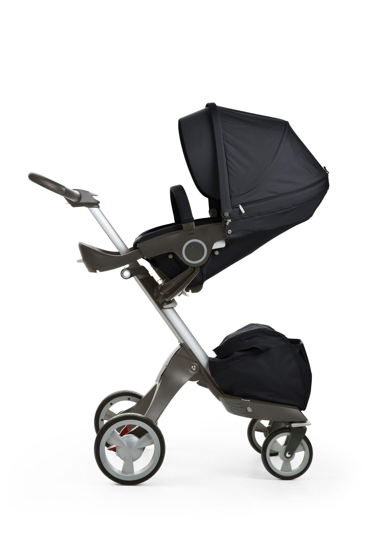 Stokke® Xplory® with Stokke® Stroller Seat, Dark Navy.