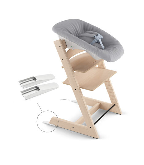 Tripp Trapp® Natural and Tripp Trapp® Newborn Set with Grey  textiles. Active position.