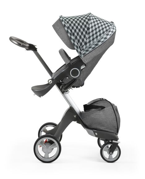 Stokke® Stroller Seat with Style Kit Grey Cube and Stokke® Xploy® chassis, Black Melange.