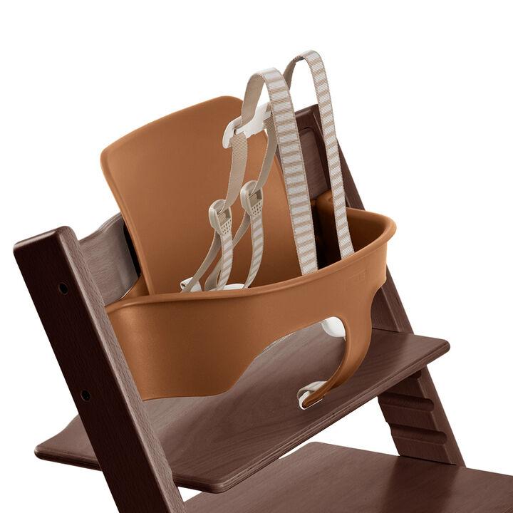 Tripp Trapp®, White, with Baby Set Walnut Brown. Detail. US version.