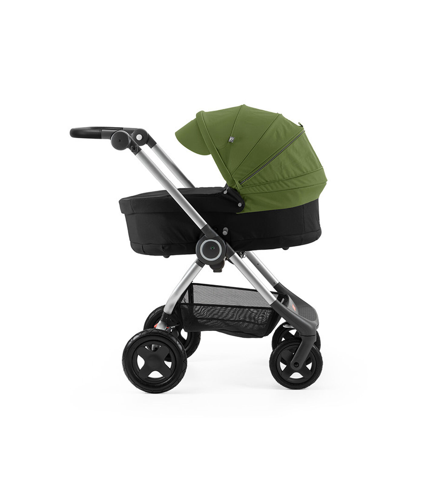 Stokke® Scoot™ with Carry Cot Black and Green Canopy.