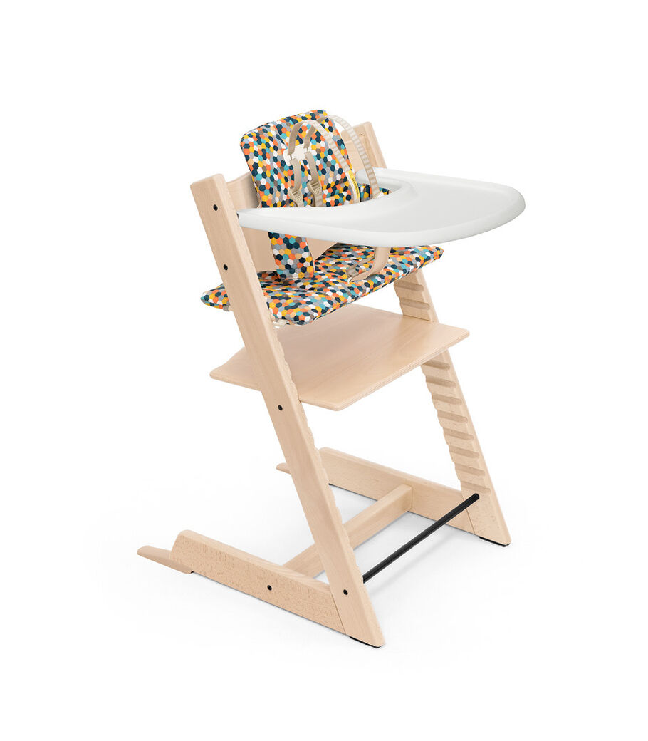 Tripp Trapp® High Chair Natural with Baby Set, Classic Cushion Honecomb Happy and Stokke® Tray. Bundle. US only.