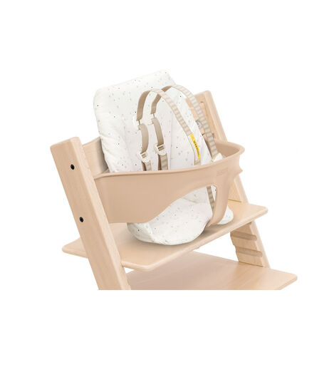 Tripp Trapp® chair Natural, Beech Wood, with Baby Set and Baby Cushion Sweet Hearts. US version.