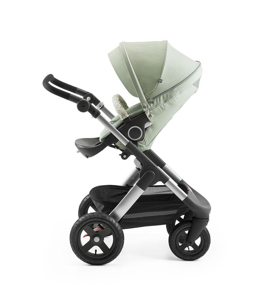 Stokke® Trailz™ With Stokke® Stroller Seat And Flora Green Summer Kit.