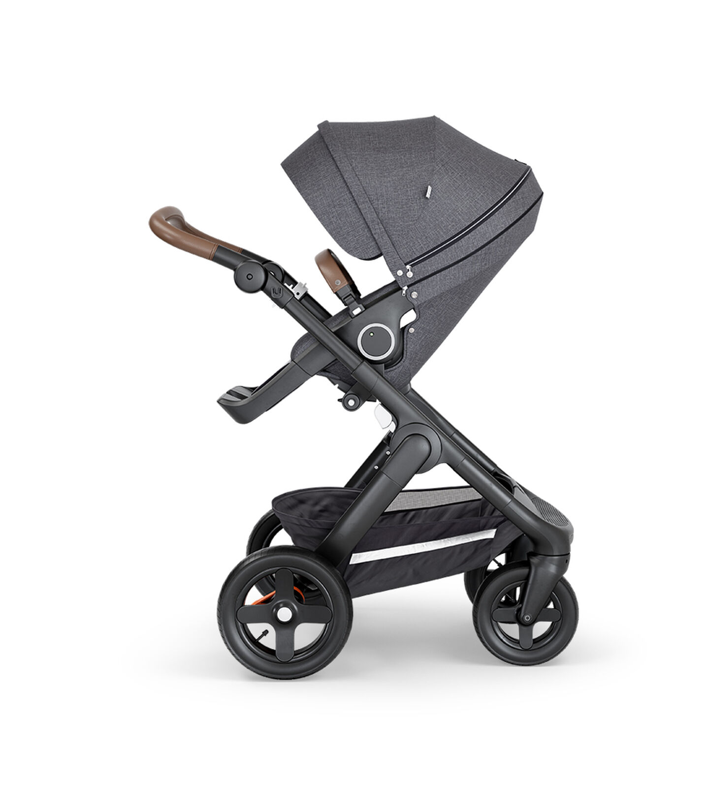 Stokke® Trailz™ with Black Chassis, Brown Leatherette and Terrain Wheels. Stokke® Stroller Seat, Black Melange.