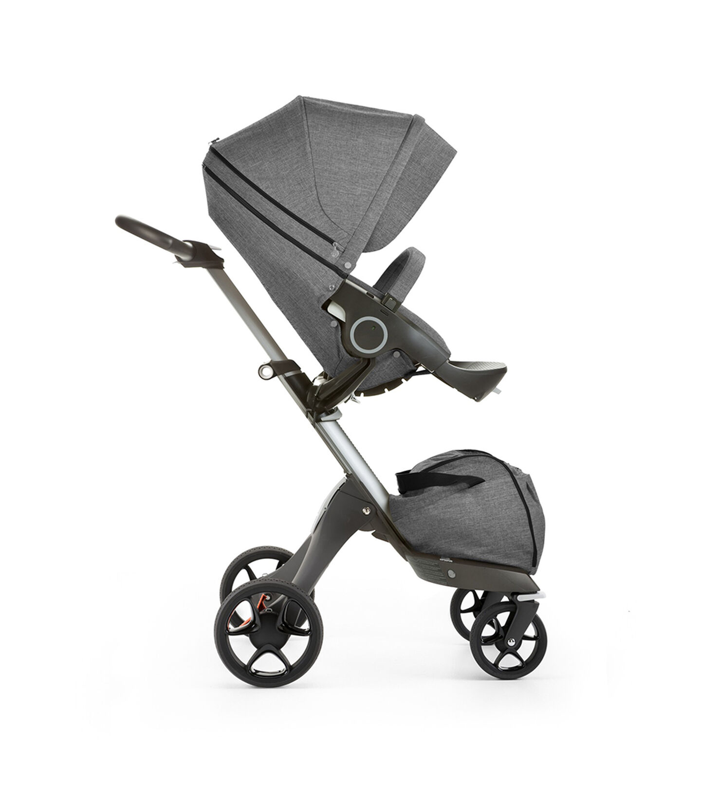 Stokke® Xplory® with Stokke® Stroller Seat, forward facing, rest position. Black Melange. New wheels 2016.