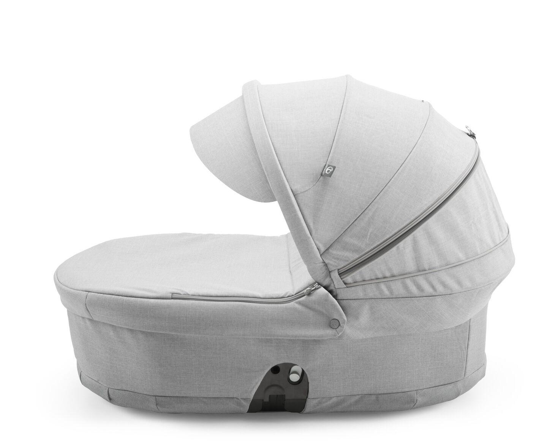 Stokke® Scoot™ Carry Cot, Grey Melange, with Grey Melange Canopy.