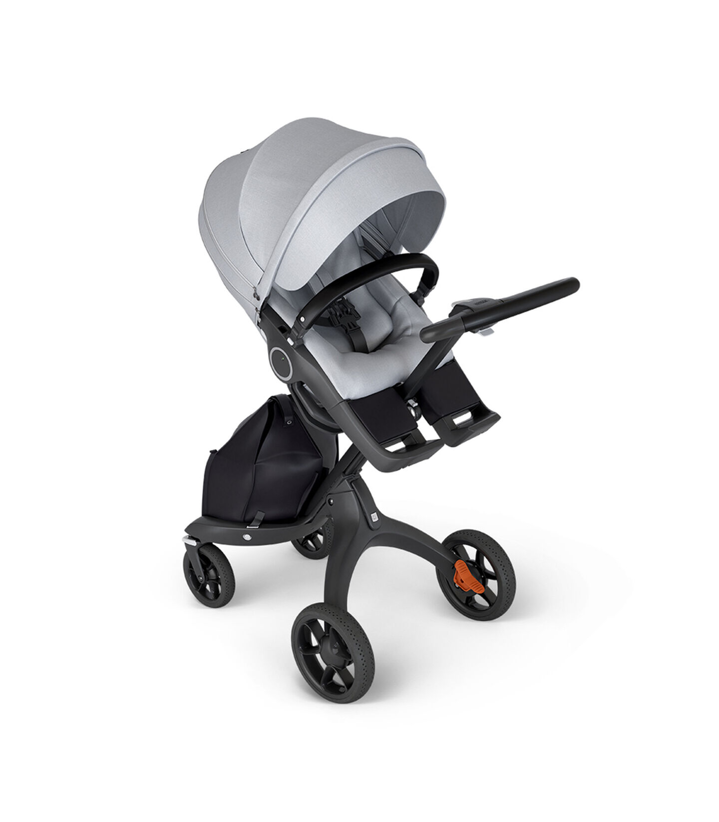 Stokke® Xplory® with Black Chassis and Leatherette Black handle. Stokke® Stroller Seat Grey Melange in angled view.