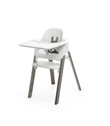 Stokke® Steps™ Chair White Seat Hazy Grey Legs, Hazy Grey, mainview view 5