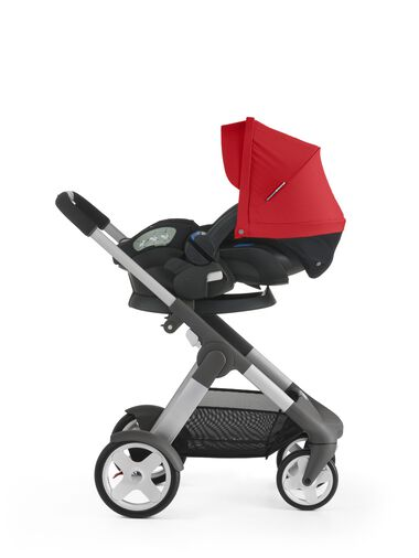 Stokke® iZi Sleep™ X3, Red and Stokke® Crusi™ chassis.