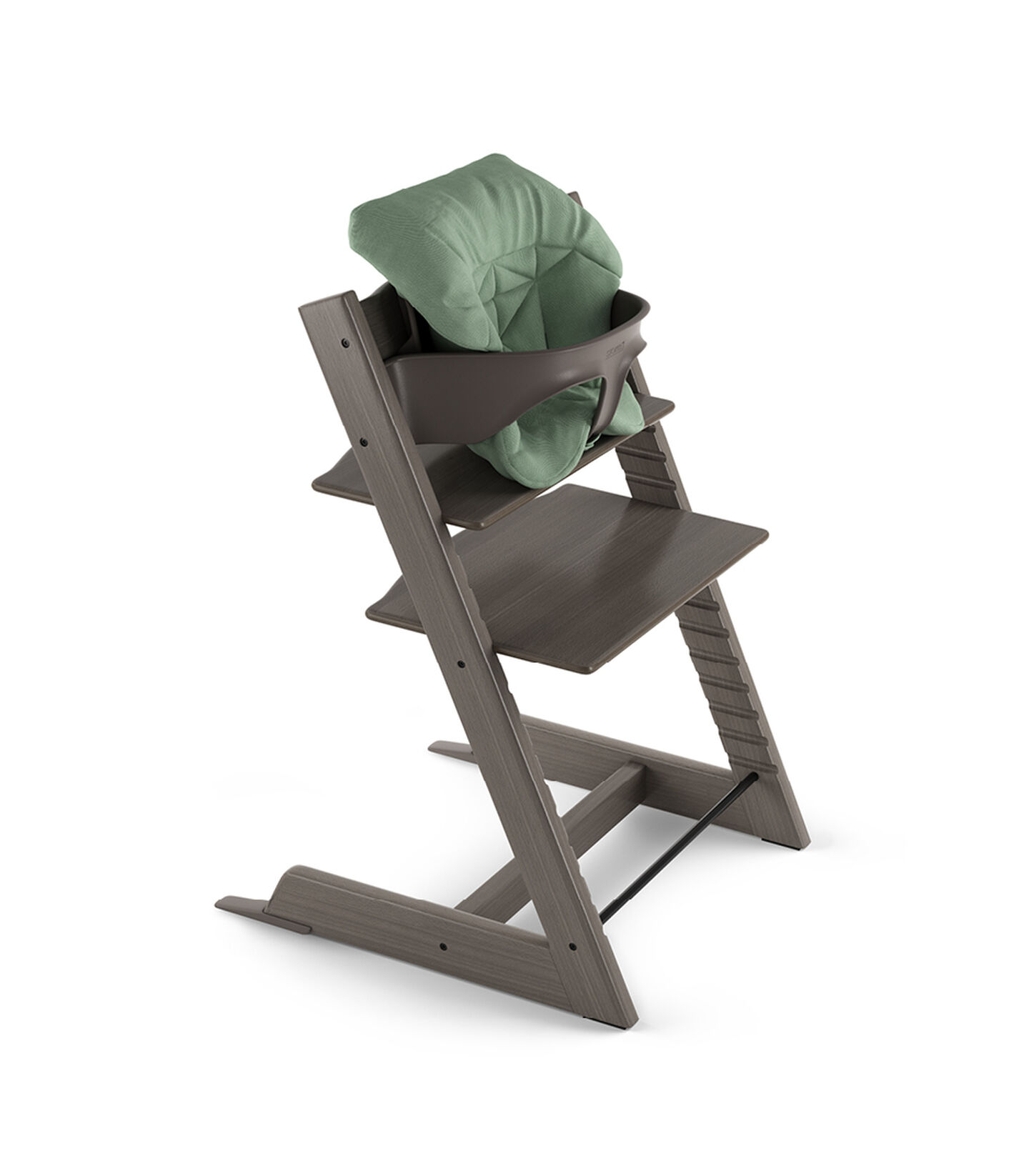 Tripp Trapp® Hazy Grey with Baby Set and Baby Cushion Timeless Green.
