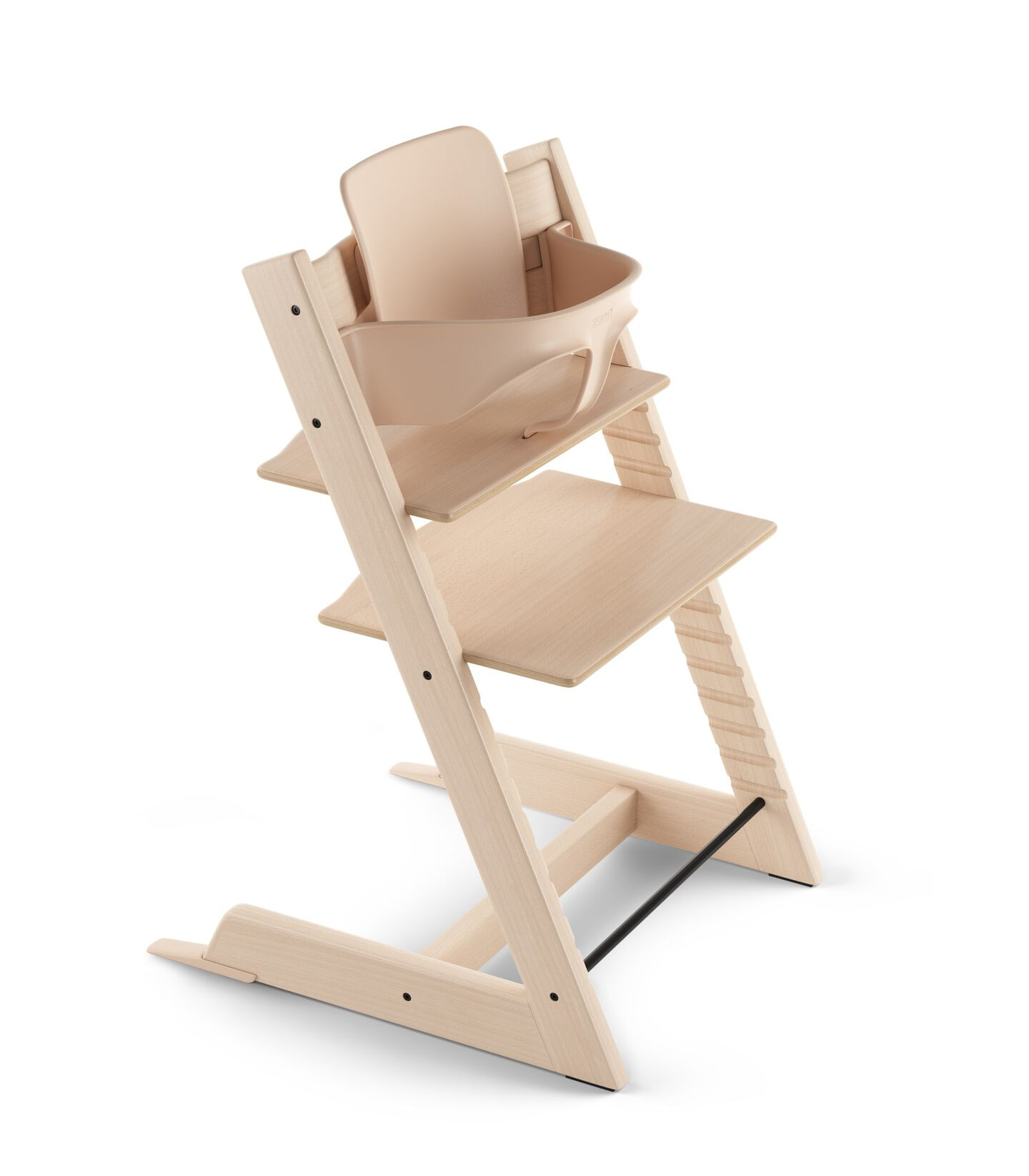 Tripp Trapp® Chair Natural, Beech, with Baby Set. 3D rendering.