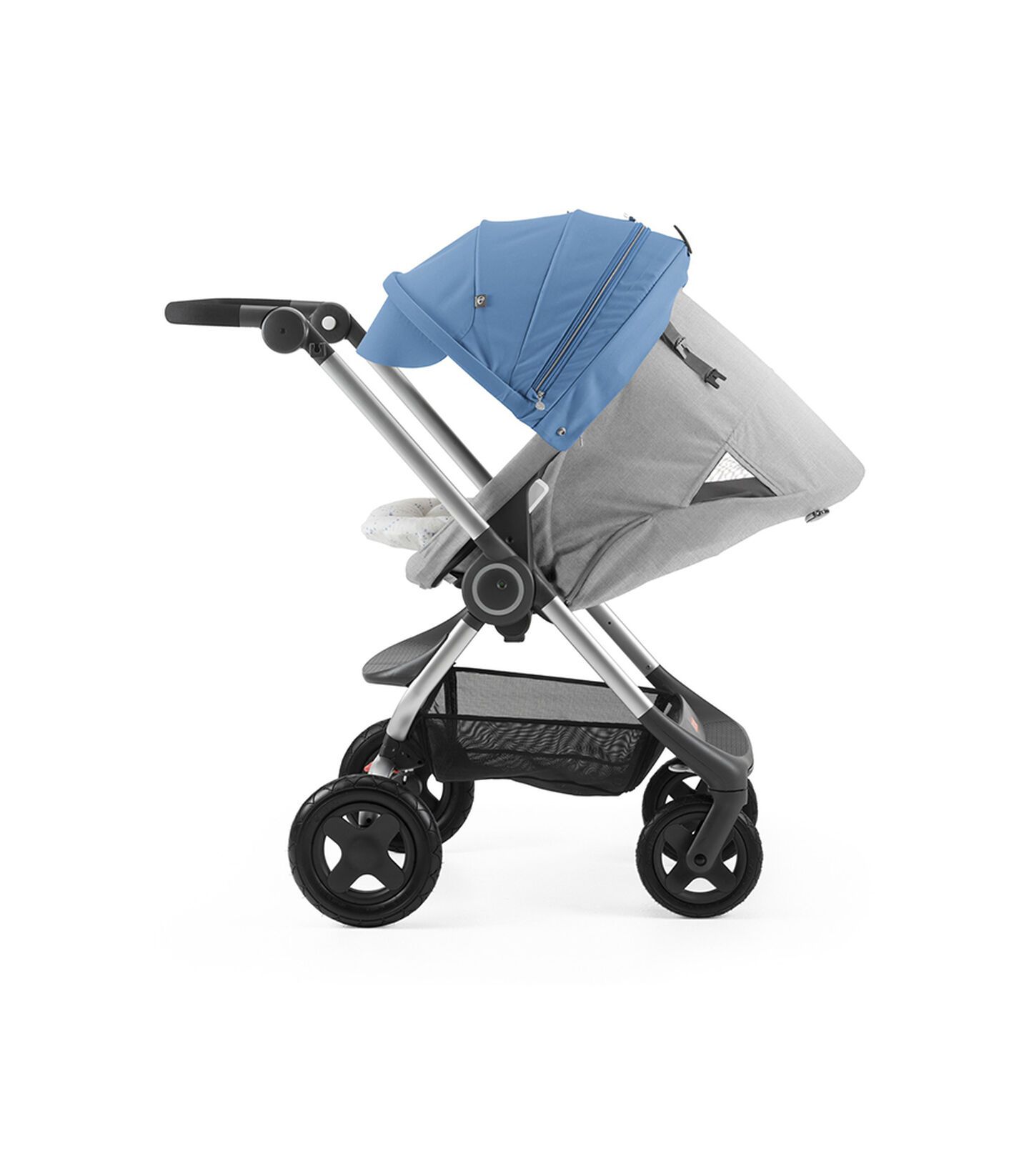 Stokke® Scoot™ with Grey Melange seat and Blue Canopy. Parent Facing. Sleep position.