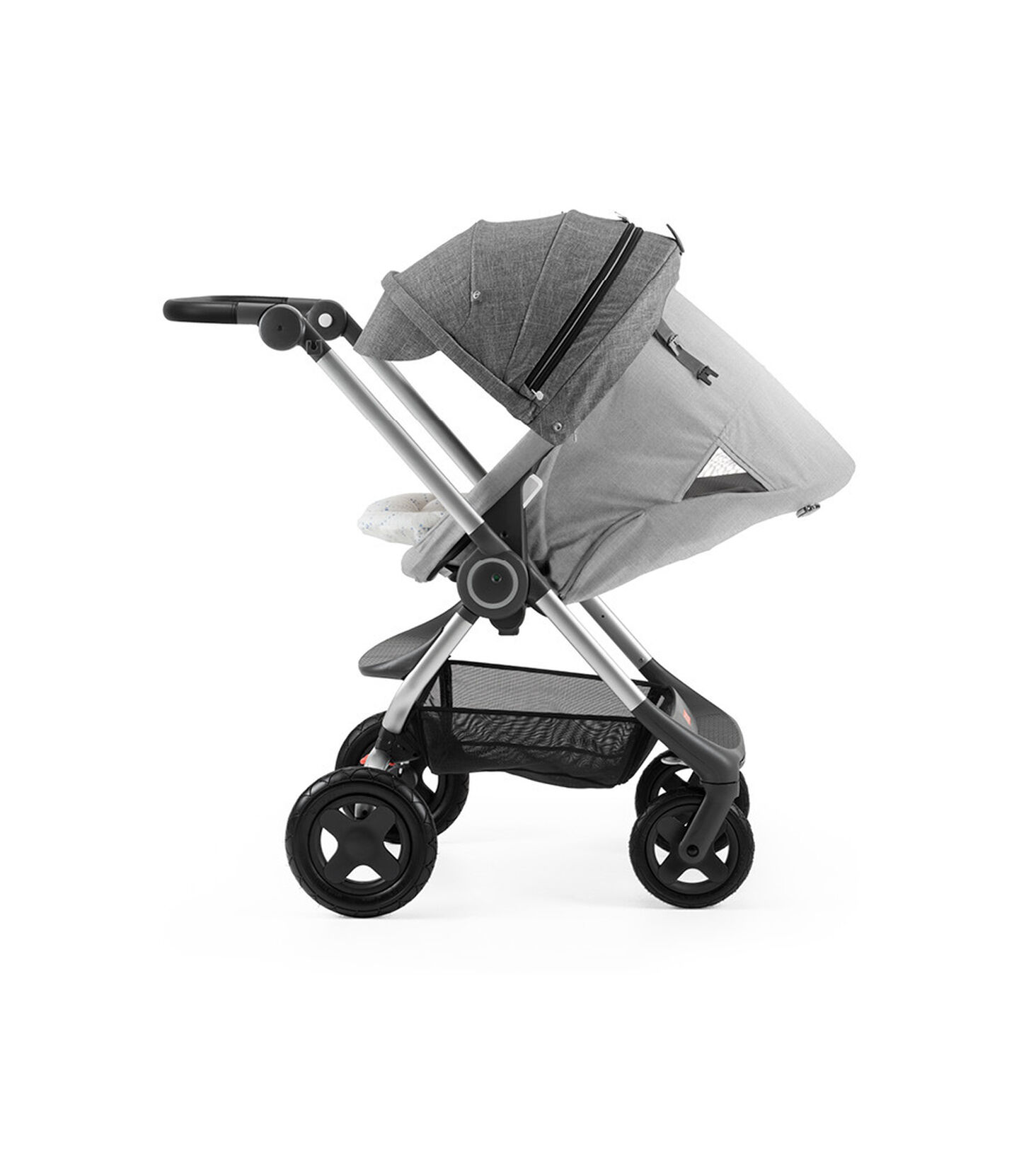 Stokke® Scoot™ with Grey Melange seat and Black Melange Canopy. Parent Facing. Sleep position.