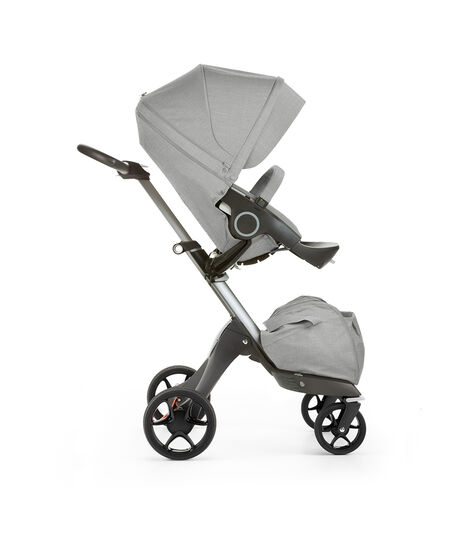 Stokke® Xplory® with Stokke® Stroller Seat, forward facing, rest position. Grey Melange. New wheels 2016. view 5