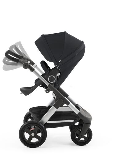 Chassis with Stokke® Stroller Seat, Black. Handle Positions.