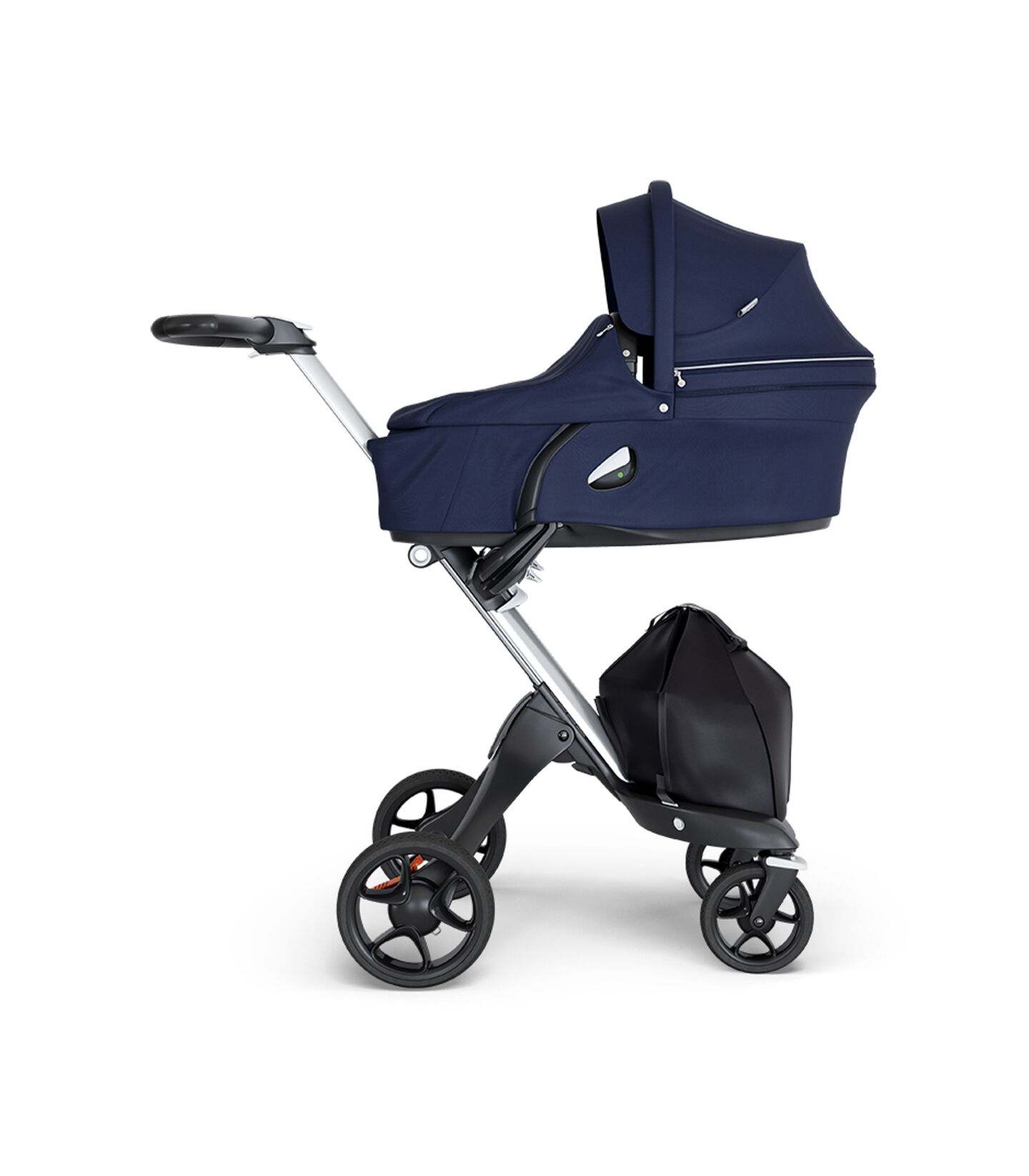 Stokke® Xplory® wtih Silver Chassis and Leatherette Black handle. Stokke® Stroller Carry Cot Deep Blue.