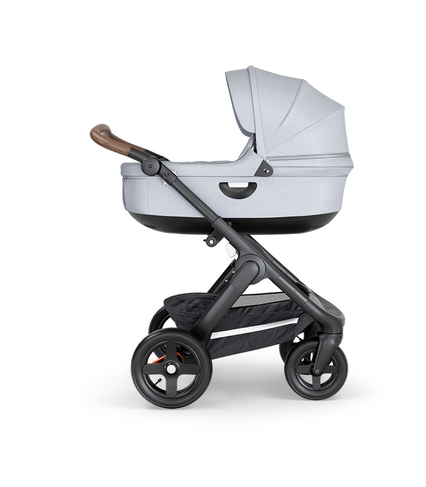 Stokke® Trailz™ with Black Chassis, Brown Leatherette and Terrain Wheels. Stokke® Stroller Carry Cot, Grey Melange.