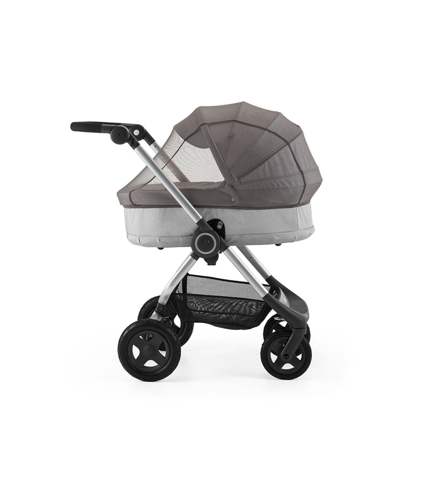 Stokke® Scoot™ With Carry Cot Grey Melange. Mosquito Net.