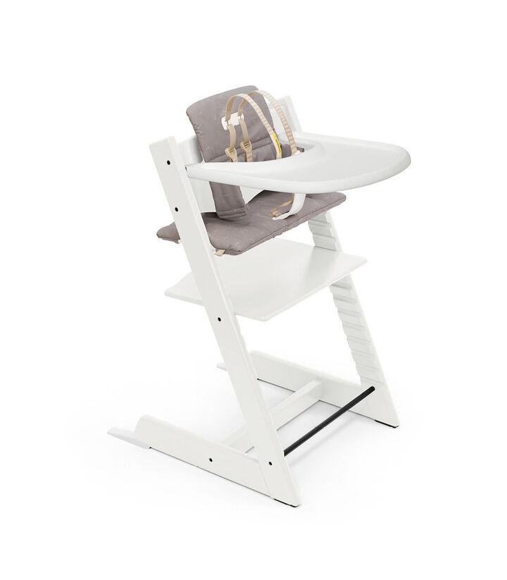 Tripp Trapp® HC Cpl White w Icon Grey Cushion & Tray, White, Icon Grey Cushion + Tray, mainview view 1