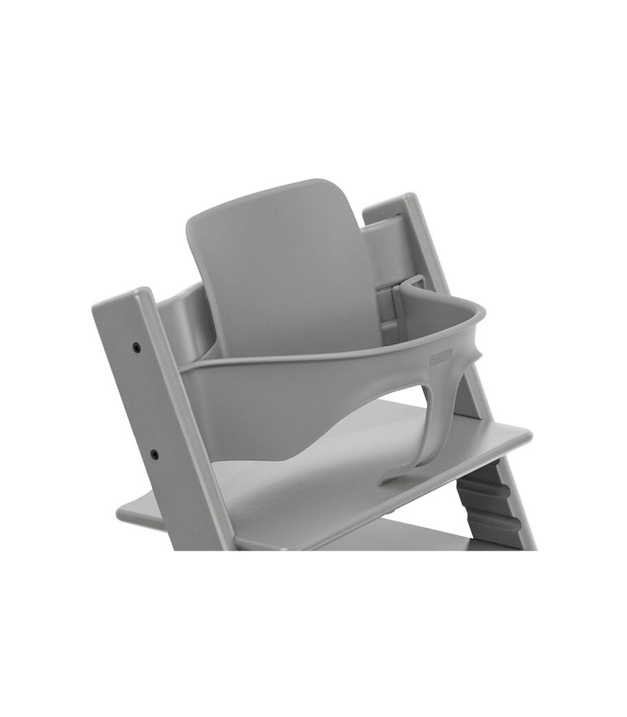 Tripp Trapp® Chair Storm Grey with Baby Set. Close-up.