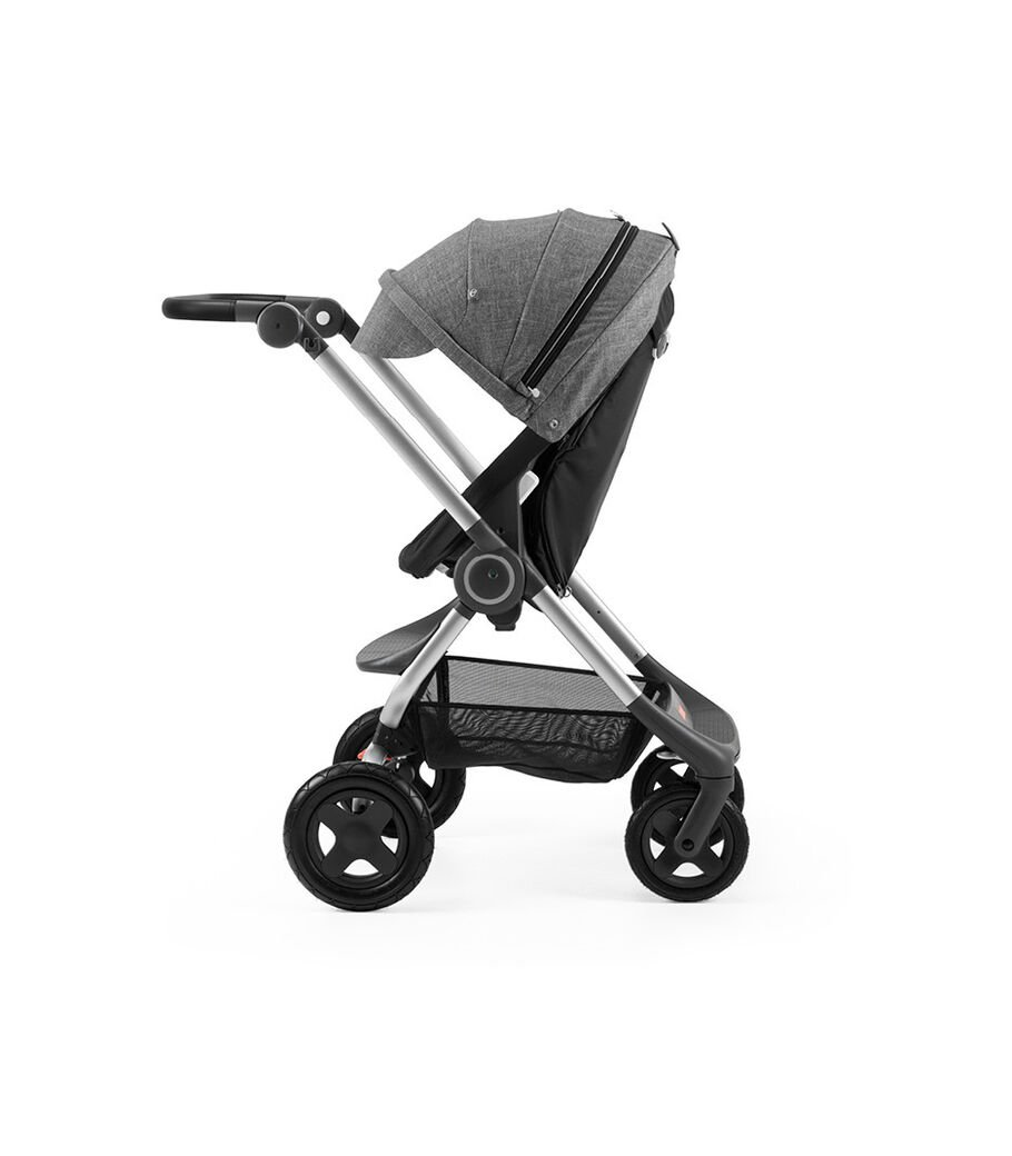 Stokke® Scoot™ Black with Black Melange Canopy. Parent facing, active position.