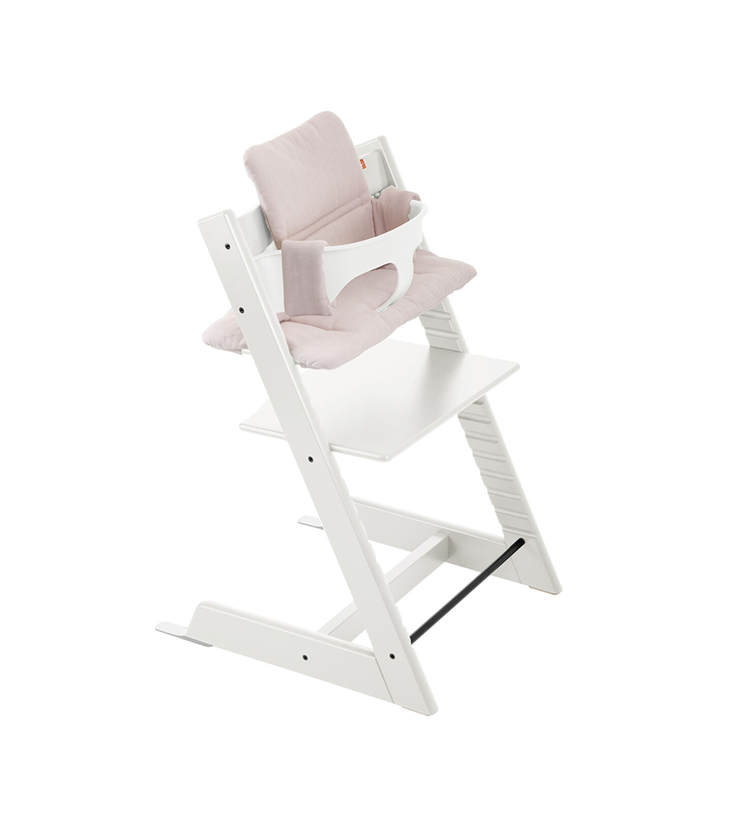 Tripp Trapp® White with Baby Set and Pink Tweed cushion