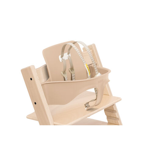 Tripp Trapp® Chair Natural with Baby Set. Close-up. US with Harness. view 11