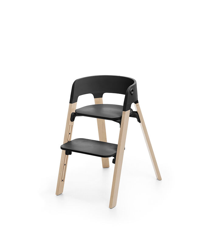 Stokke® Steps™ Chair Black Seat Natural Legs (stokke.com), 天然色, mainview