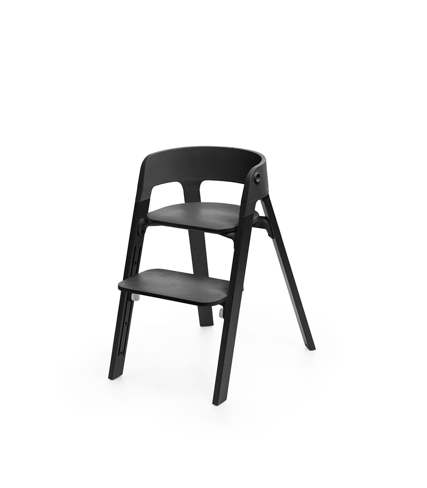 Stokke® Steps™ Chair Black Seat Oak Black Legs, Oak Black, mainview view 1