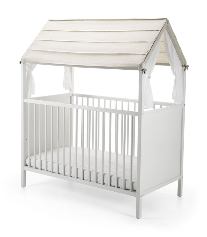 Stokke® Home™ Bed, White. Roof textile, Natural.