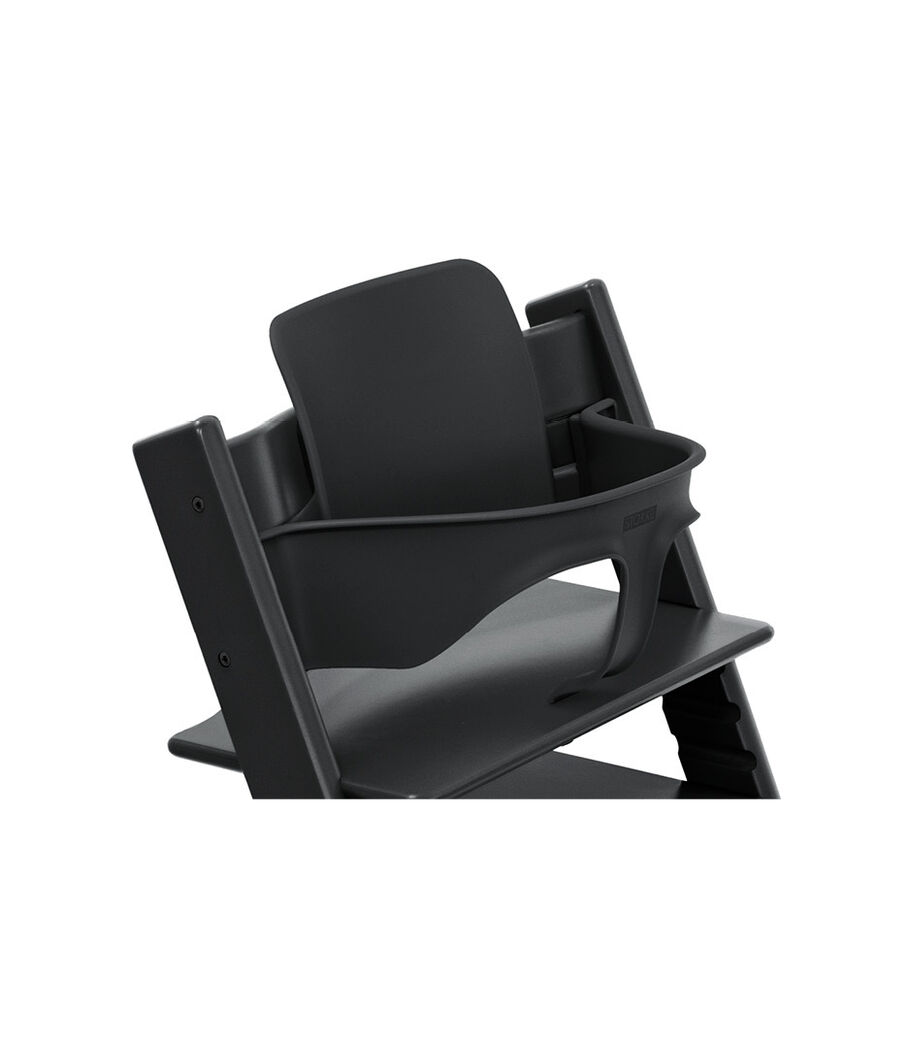 Tripp Trapp® Chair Black, Beech, with Baby Set. 3D rendering.