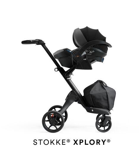 Stokke® iZi Go Modular™ X1 by Besafe®, Black Melange. Mounted on Stokke® Xplory®.