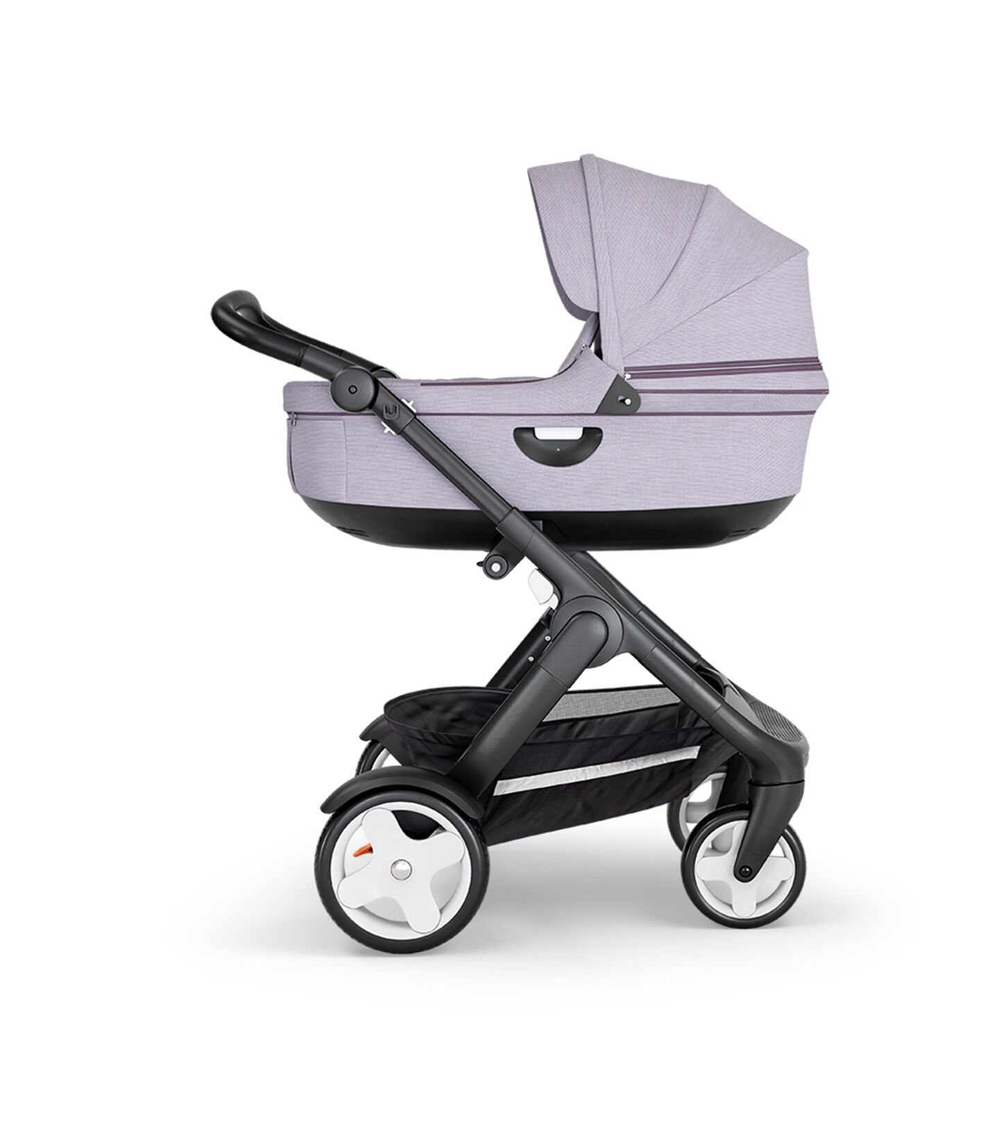 Stokke® Trailz™ with Black Chassis, Black Leatherette and Classic Wheels. Stokke® Stroller Carry Cot, Brushed Lilac.