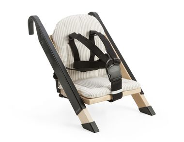 Portable child seat, Black, accessorised with Beige Stripe cushion.