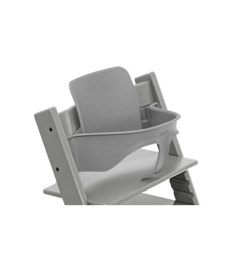Tripp Trapp® Chair Storm Grey, Beech, with Baby Set. 3D rendering.