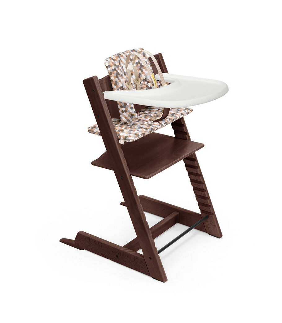 Tripp Trapp® High Chair Walnut Brown with Baby Set, lassic Cushion Honecomb Calm and Stokke® Tray. Bundle. US only
