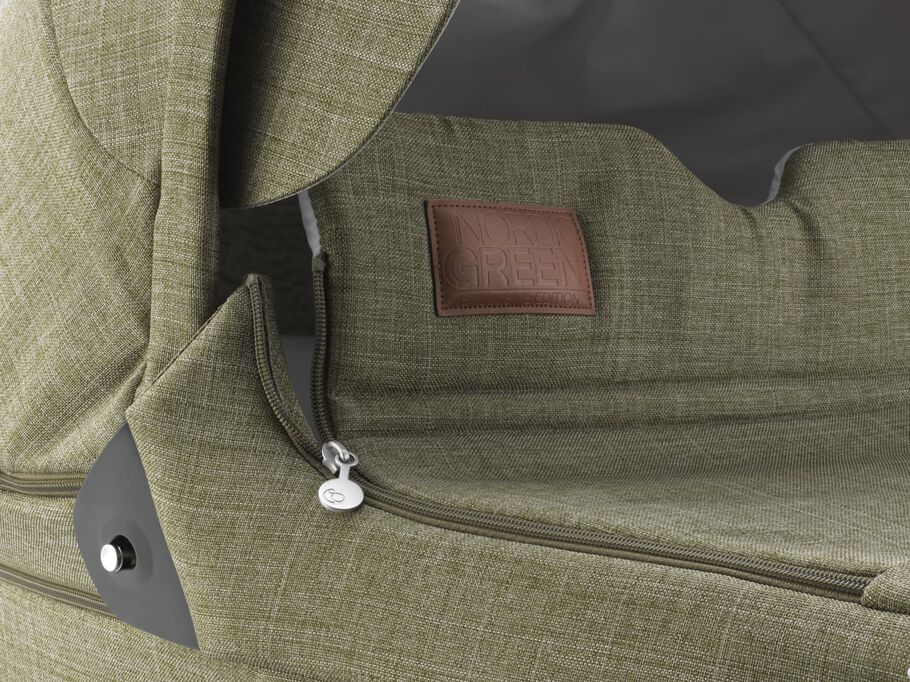 Stokke® Trailz™ Carry Cot, Nordic Green. Detail.