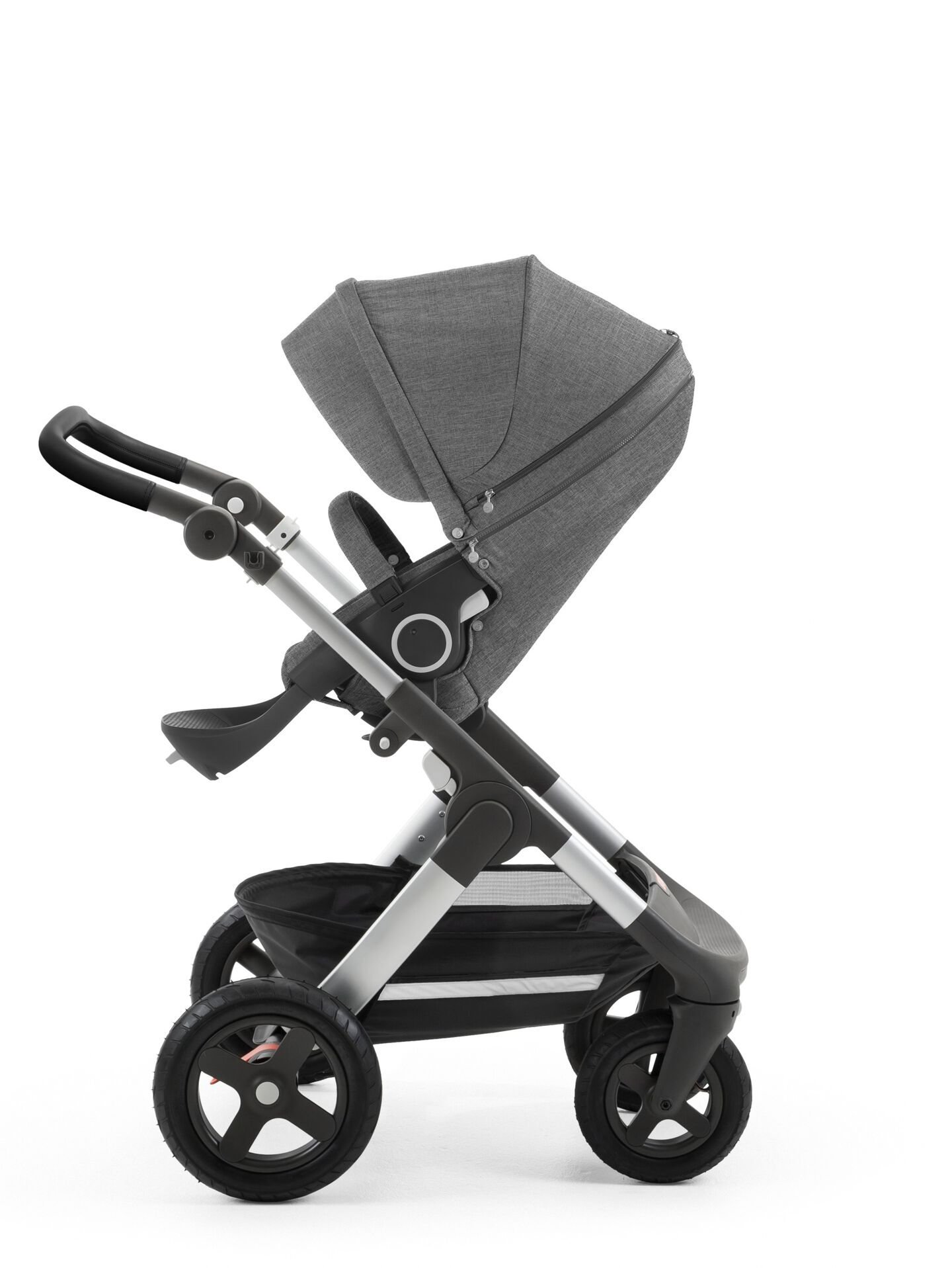 StokkeR TrailzTM With Silver Chassis And Stroller Seat Black Melange