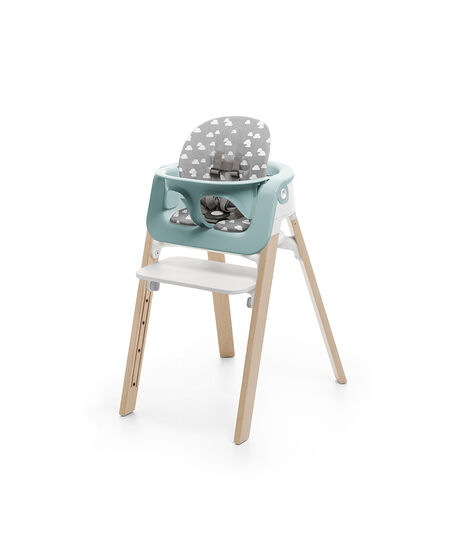 Stokke® Steps™ Natural, with Baby Set Aqua Blue and Cushion Grey Cloud.