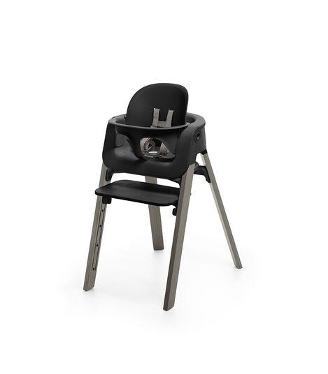Stokke® Steps™ Chair Black Seat Hazy Grey Legs (stokke.com), Hazy Grey, mainview view 2