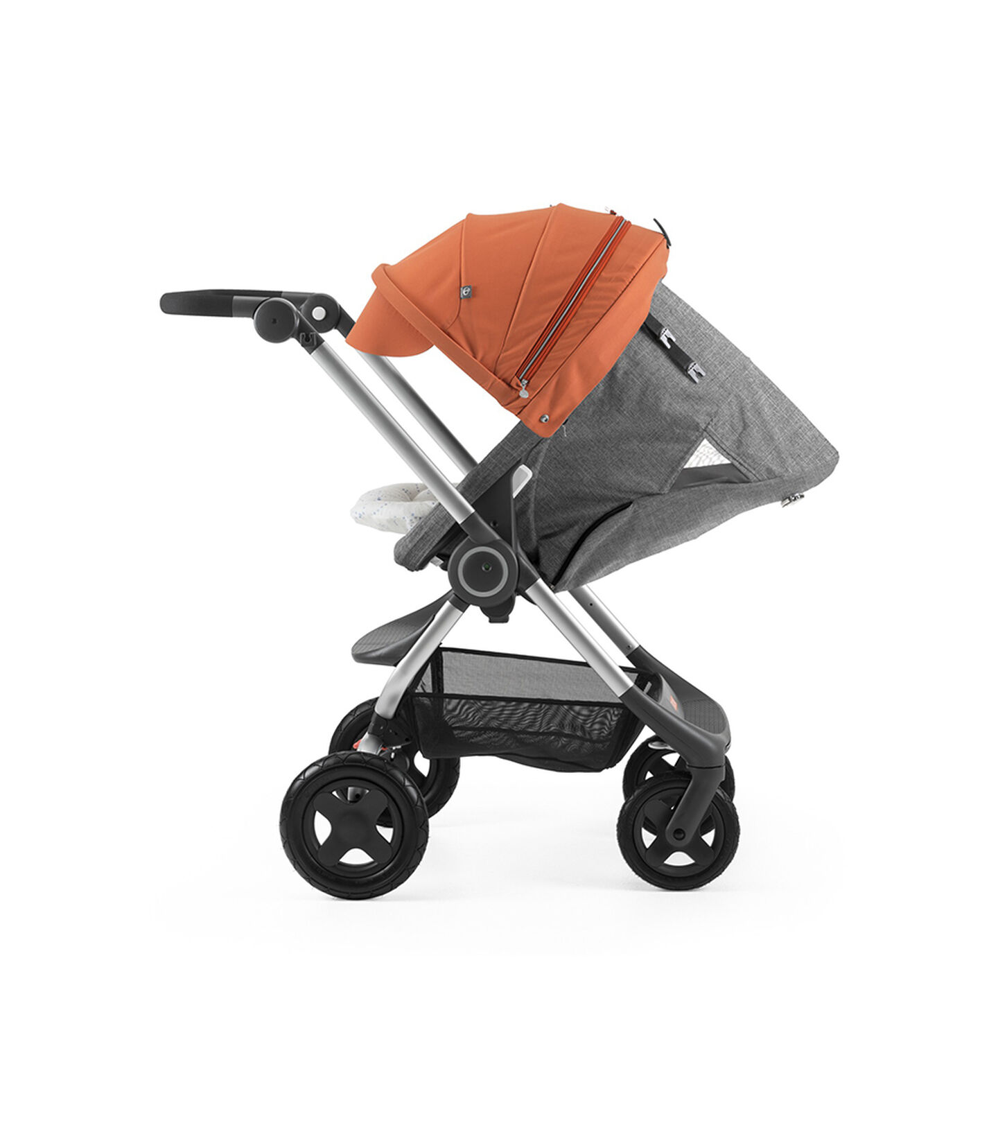 Stokke® Scoot™ with Black Melange seat and Orange Canopy. Parent Facing. Sleep position.