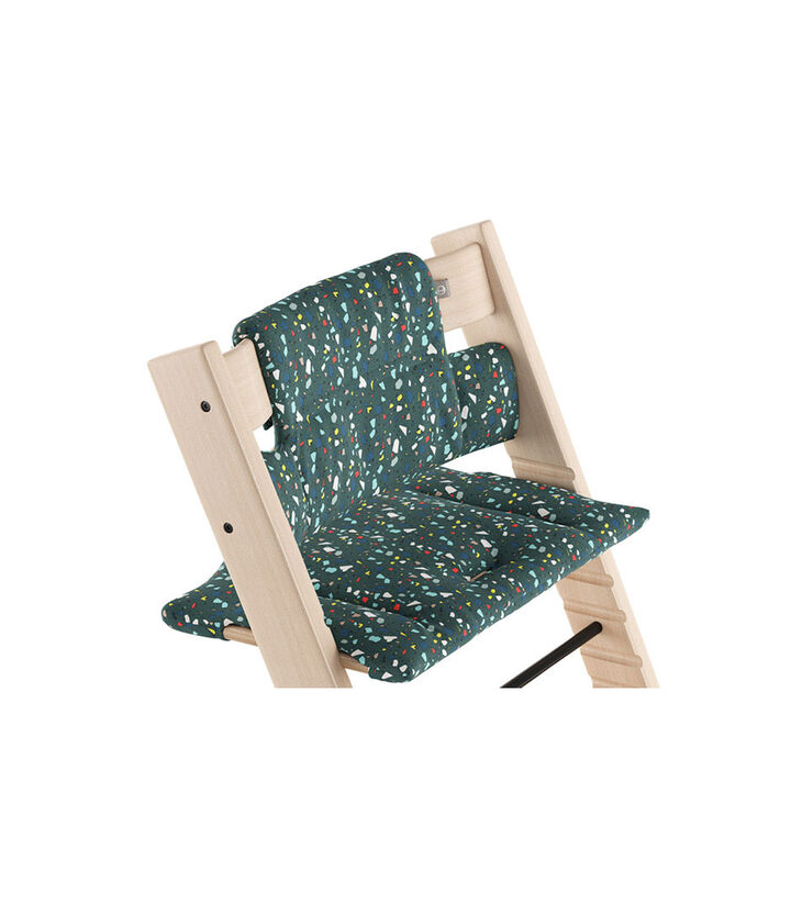 Tripp Trapp® Natural with Classic Cushion Terrazzo Petrol.  view 1