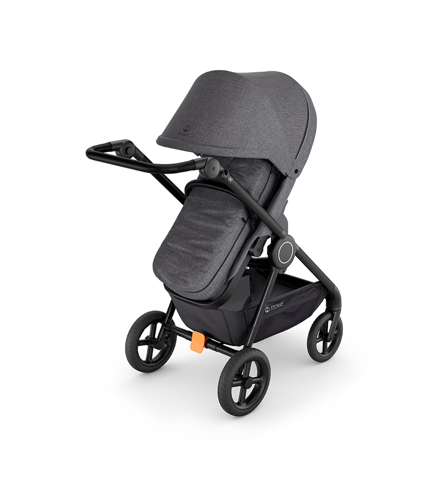 Stokke® Beat™ Black Melange with Stokke® Beat™ Soft Bag, Blue Melange.