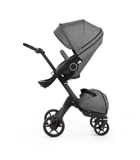 Stokke® Xplory® with Black chassis and Stokke® Stroller Seat, Black Melange. New wheels 2016.