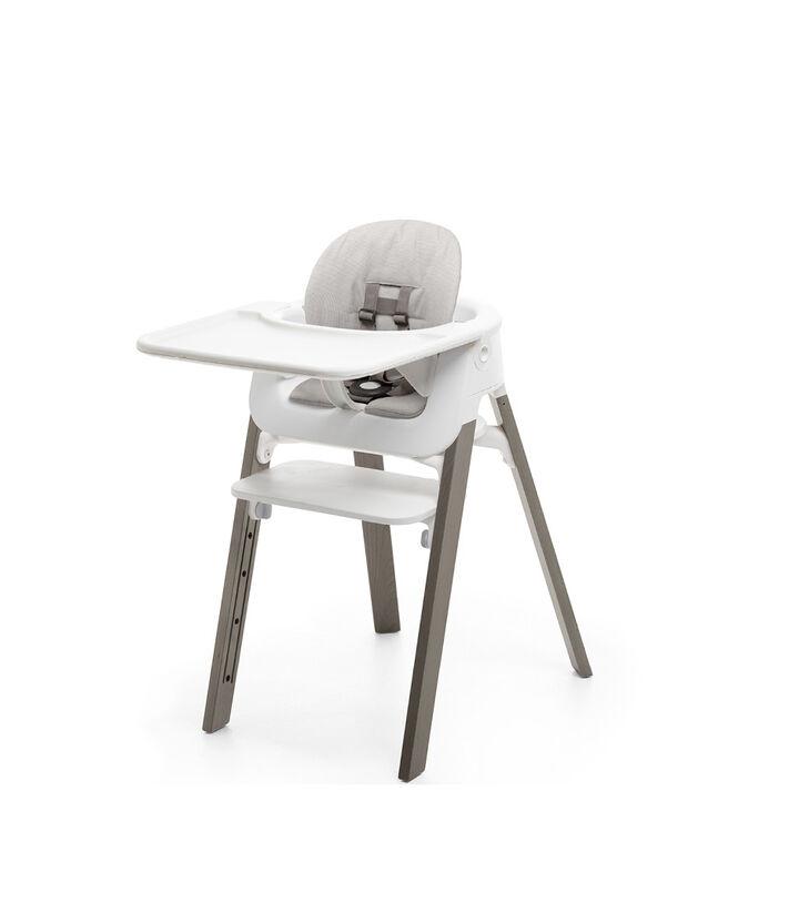 Stokke® Steps™, White Seat BS-HazyGrey Legs, mainview view 1